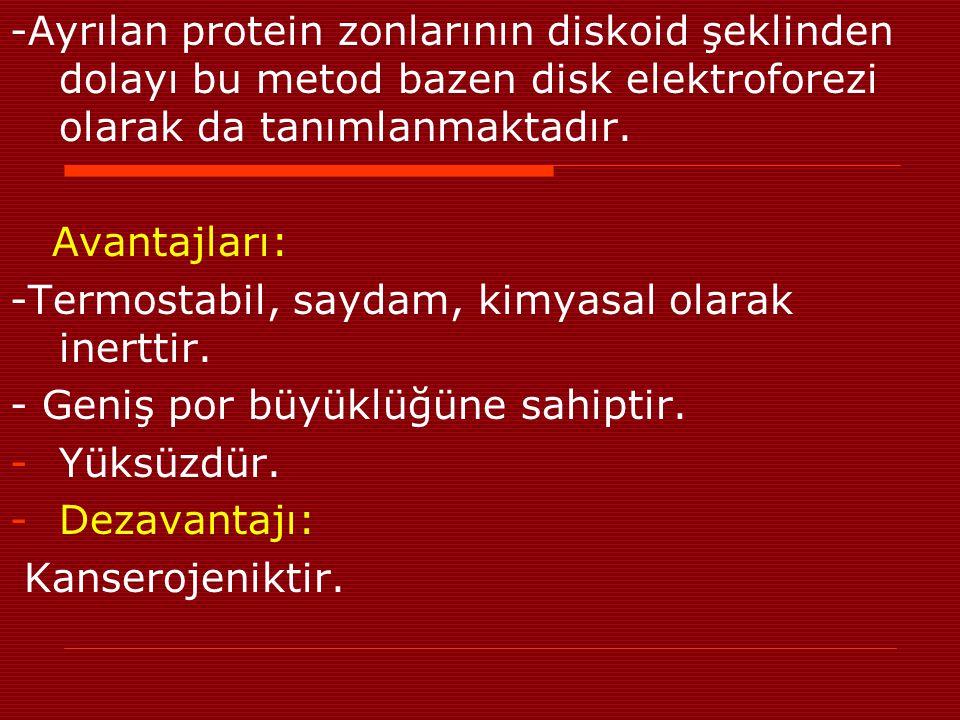 -Ayrılan protein zonlarının diskoid şeklinden dolayı bu metod bazen disk elektroforezi olarak da tanımlanmaktadır.