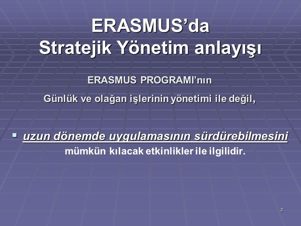 ERASMUS'da Stratejik Yönetim anlayışı