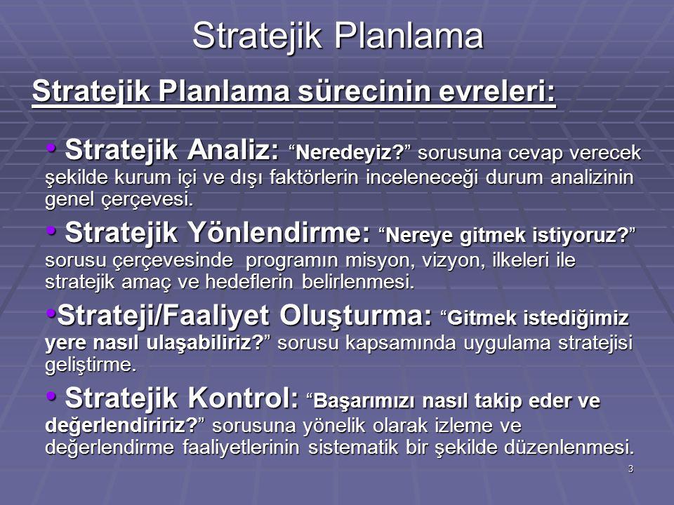 Stratejik Planlama Stratejik Planlama sürecinin evreleri: