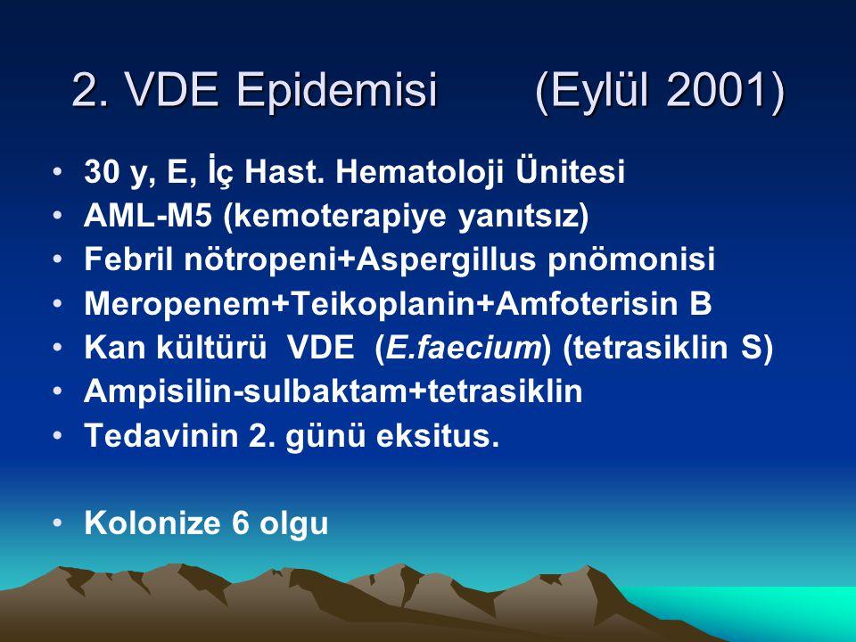 2. VDE Epidemisi (Eylül 2001) 30 y, E, İç Hast. Hematoloji Ünitesi