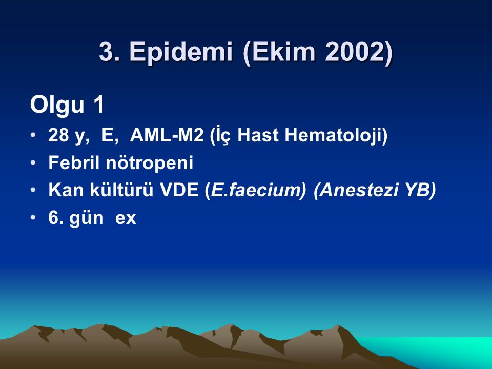 3. Epidemi (Ekim 2002) Olgu 1 28 y, E, AML-M2 (İç Hast Hematoloji)