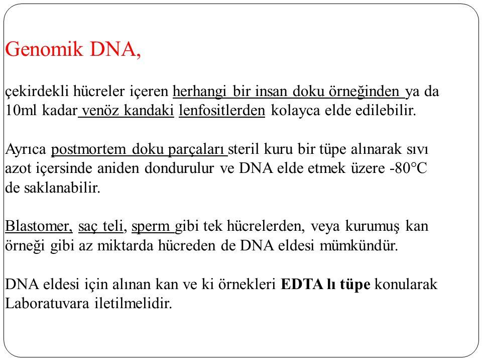 Genomik DNA, çekirdekli hücreler içeren herhangi bir insan doku örneğinden ya da 10ml kadar venöz kandaki lenfositlerden kolayca elde edilebilir.