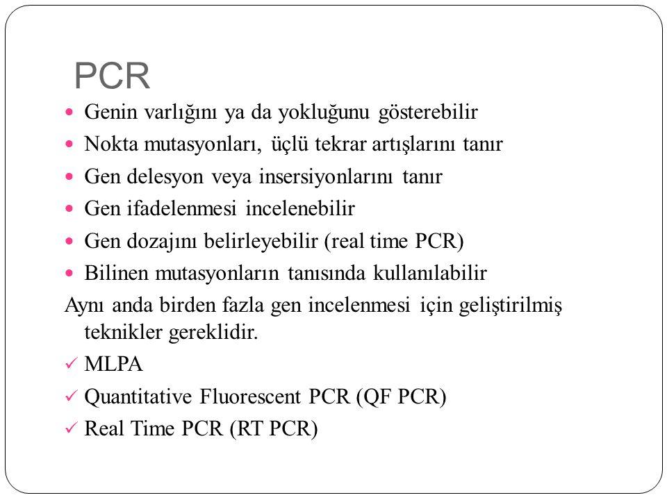 PCR Genin varlığını ya da yokluğunu gösterebilir