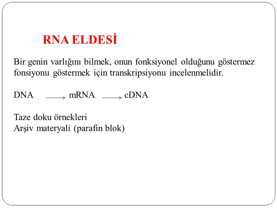 RNA ELDESİ Bir genin varlığını bilmek, onun fonksiyonel olduğunu göstermez. fonsiyonu göstermek için transkripsiyonu incelenmelidir.
