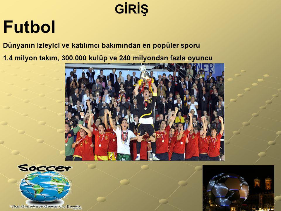 GİRİŞ Futbol. Dünyanın izleyici ve katılımcı bakımından en popüler sporu.