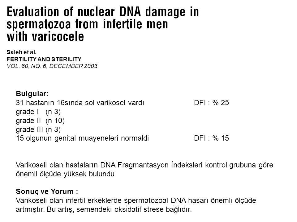 31 hastanın 16sında sol varikosel vardı DFI : % 25 grade I (n 3)