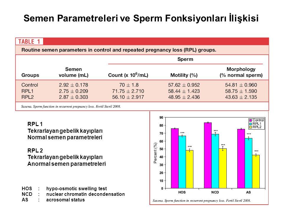 Semen Parametreleri ve Sperm Fonksiyonları İlişkisi