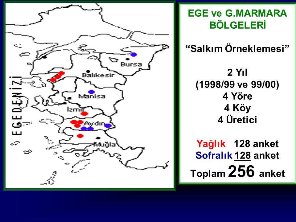 EGE ve G.MARMARA BÖLGELERİ Salkım Örneklemesi 2 Yıl (1998/99 ve 99/00) 4 Yöre 4 Köy 4 Üretici Yağlık 128 anket Sofralık 128 anket Toplam 256 anket