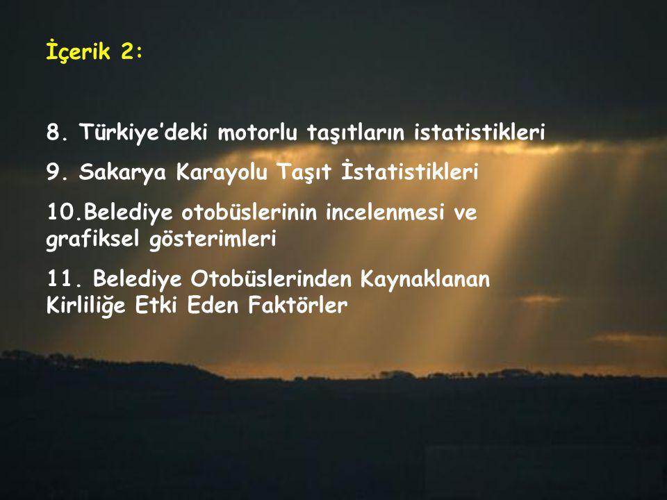 İçerik 2: 8. Türkiye'deki motorlu taşıtların istatistikleri. 9. Sakarya Karayolu Taşıt İstatistikleri.