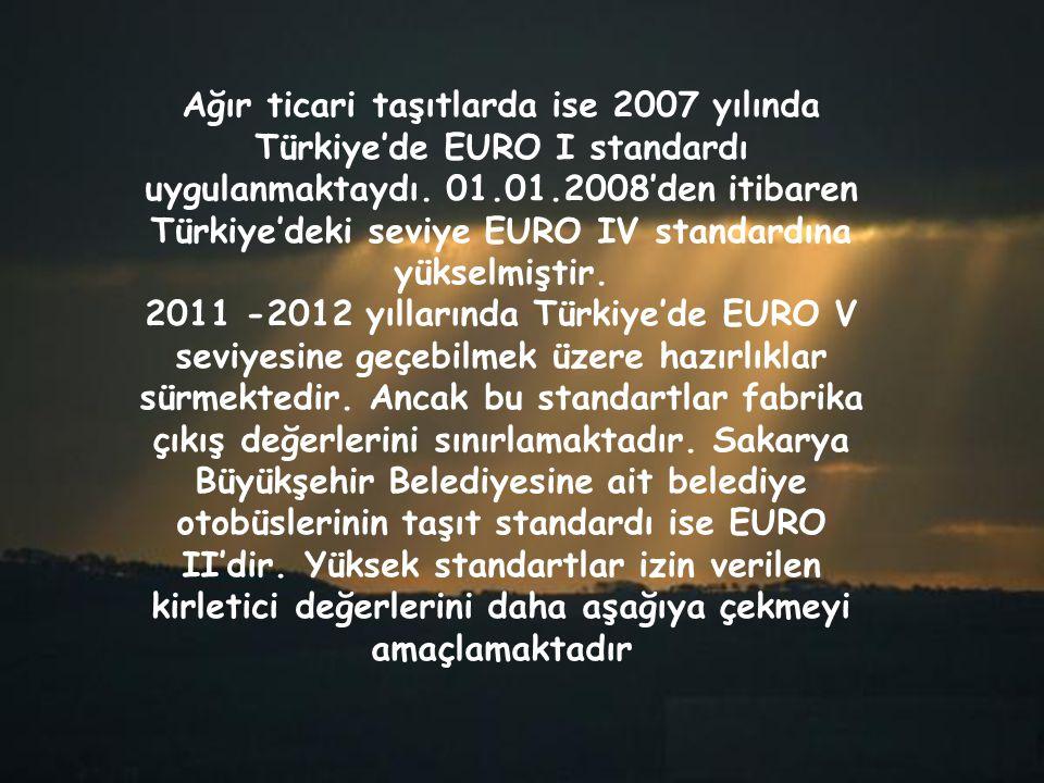 Ağır ticari taşıtlarda ise 2007 yılında Türkiye'de EURO I standardı uygulanmaktaydı. 01.01.2008'den itibaren Türkiye'deki seviye EURO IV standardına yükselmiştir.
