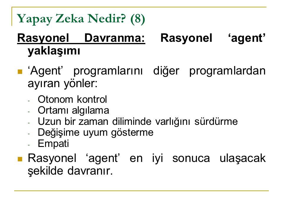 Yapay Zeka Nedir (8) Rasyonel Davranma: Rasyonel 'agent' yaklaşımı