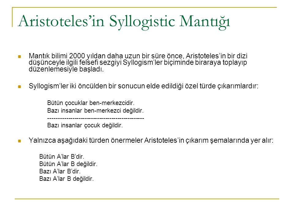 Aristoteles'in Syllogistic Mantığı