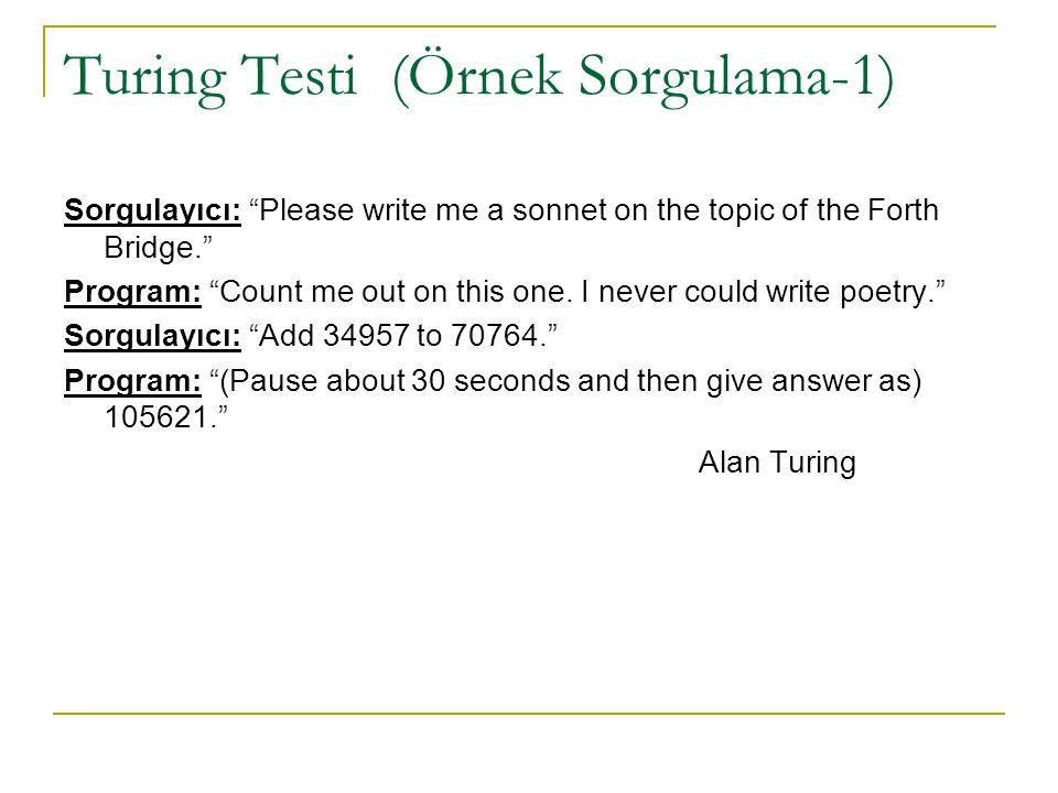 Turing Testi (Örnek Sorgulama-1)