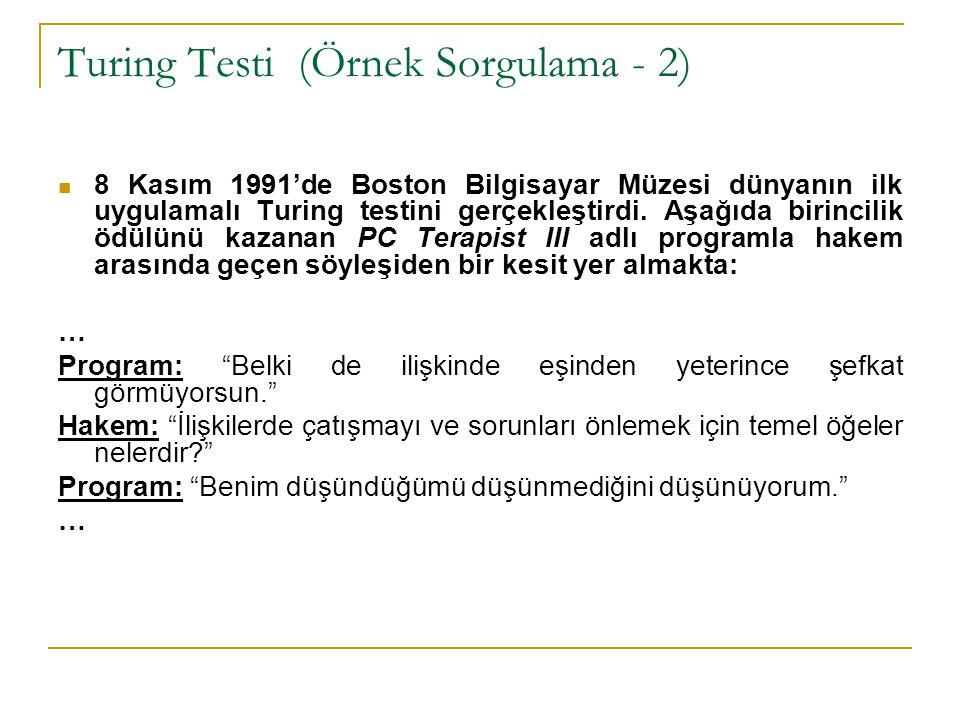 Turing Testi (Örnek Sorgulama - 2)
