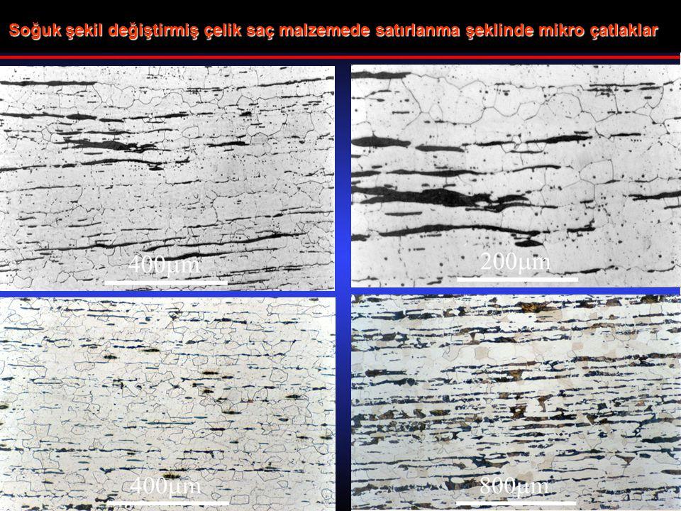 Soğuk şekil değiştirmiş çelik saç malzemede satırlanma şeklinde mikro çatlaklar