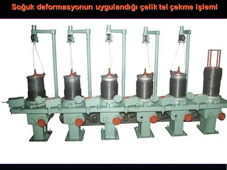 Soğuk deformasyonun uygulandığı çelik tel çekme işlemi