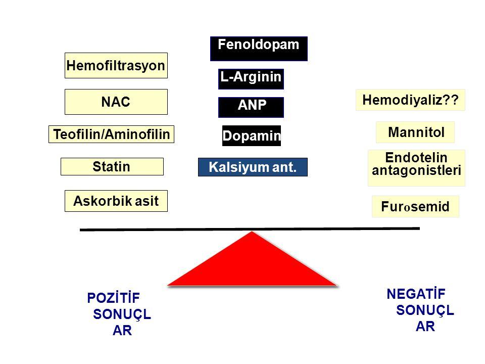 Fenoldopam Hemofiltrasyon L-Arginin NAC Hemodiyaliz ANP Mannitol