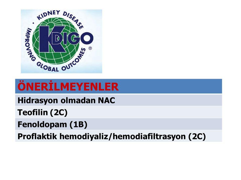 ÖNERİLMEYENLER Hidrasyon olmadan NAC Teofilin (2C) Fenoldopam (1B)