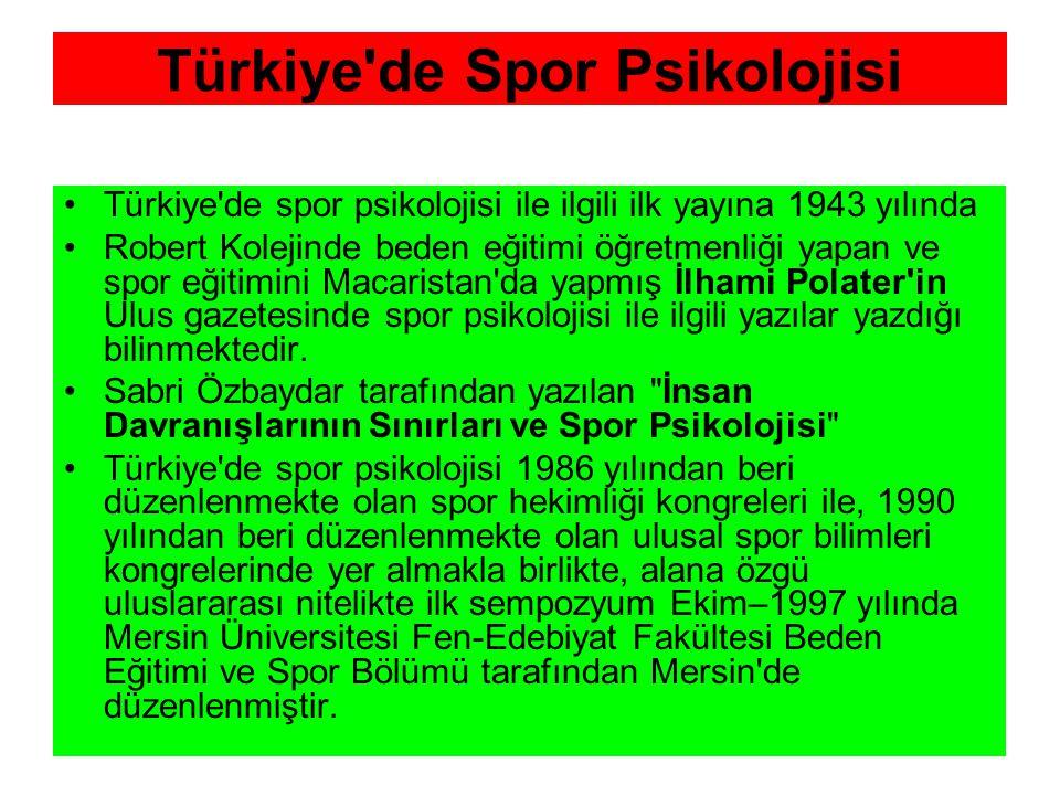 Türkiye de Spor Psikolojisi