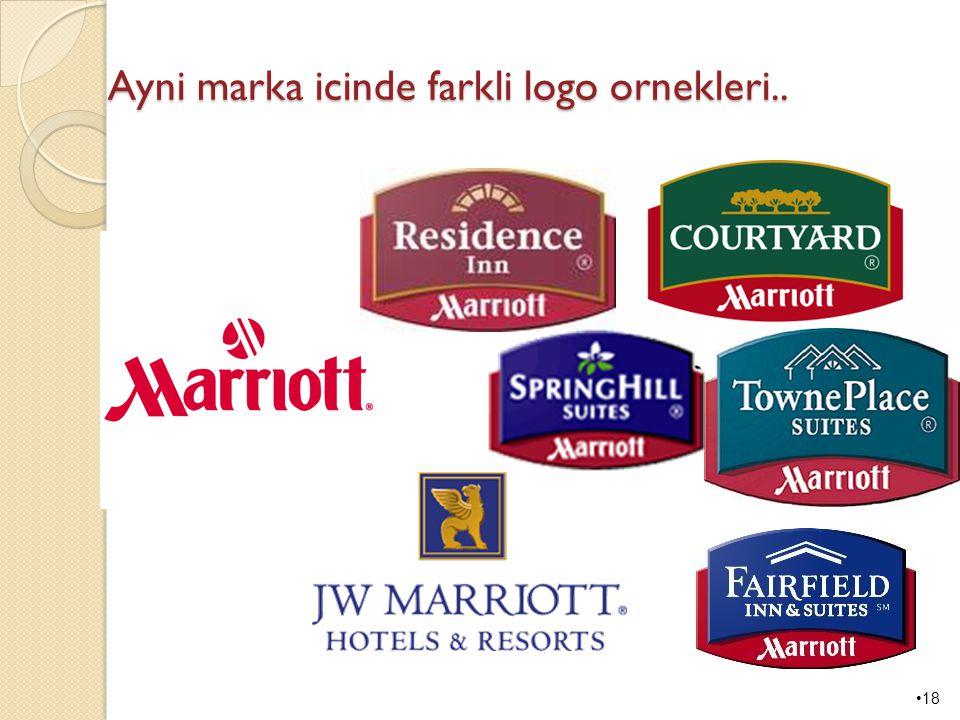 Ayni marka icinde farkli logo ornekleri..