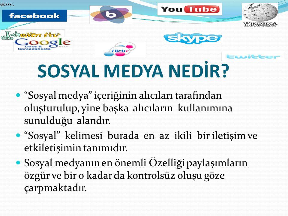 SOSYAL MEDYA NEDİR Sosyal medya içeriğinin alıcıları tarafından oluşturulup, yine başka alıcıların kullanımına sunulduğu alandır.