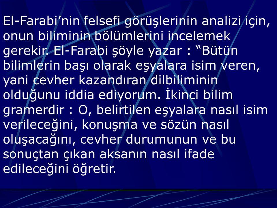 El-Farabi'nin felsefi görüşlerinin analizi için, onun biliminin bölümlerini incelemek gerekir.