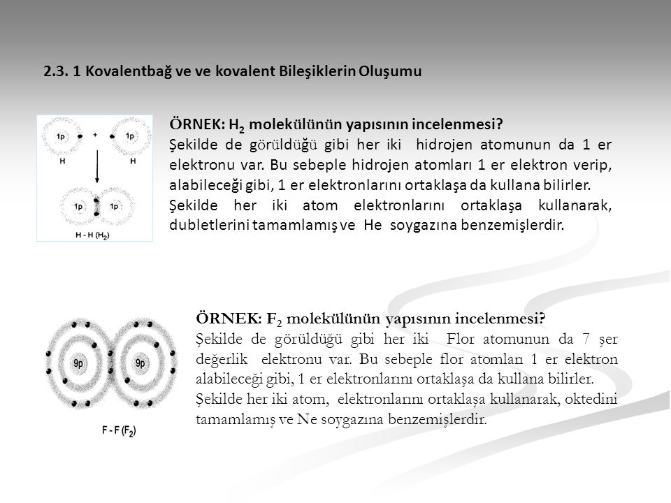 2.3. 1 Kovalentbağ ve ve kovalent Bileşiklerin Oluşumu