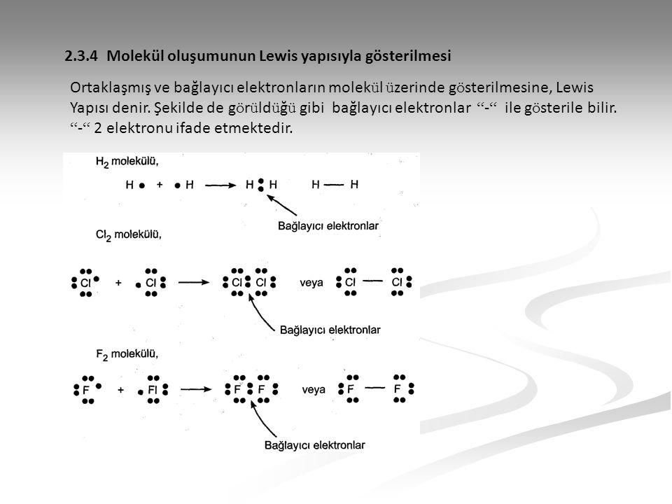 2.3.4 Molekül oluşumunun Lewis yapısıyla gösterilmesi