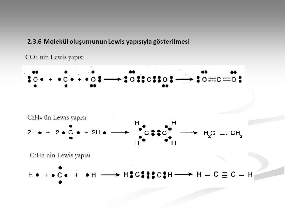 2.3.6 Molekül oluşumunun Lewis yapısıyla gösterilmesi