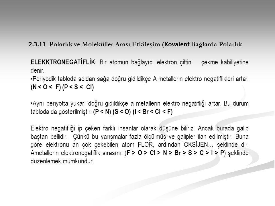 2.3.11 Polarlık ve Moleküller Arası Etkileşim (Kovalent Bağlarda Polarlık