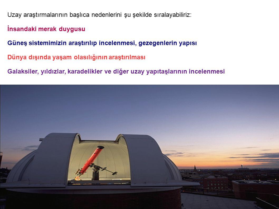 Uzay araştırmalarının başlıca nedenlerini şu şekilde sıralayabiliriz: