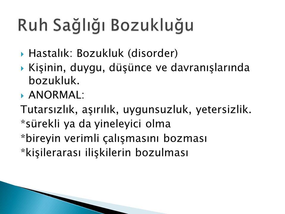 Ruh Sağlığı Bozukluğu Hastalık: Bozukluk (disorder)