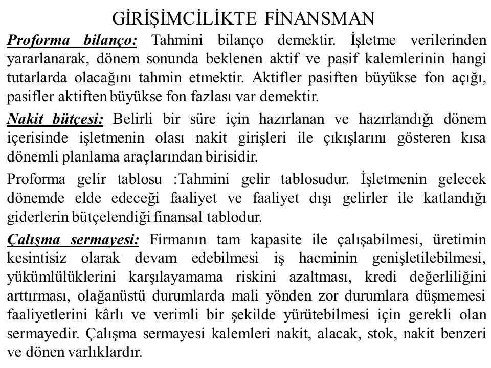 GİRİŞİMCİLİKTE FİNANSMAN