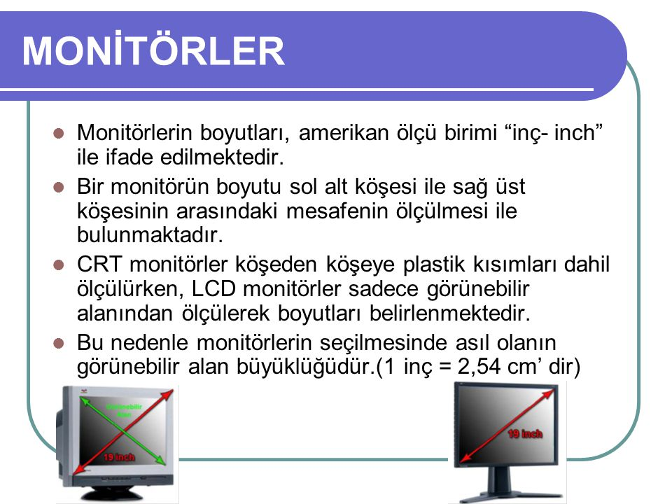 MONİTÖRLER Monitörlerin boyutları, amerikan ölçü birimi inç- inch ile ifade edilmektedir.