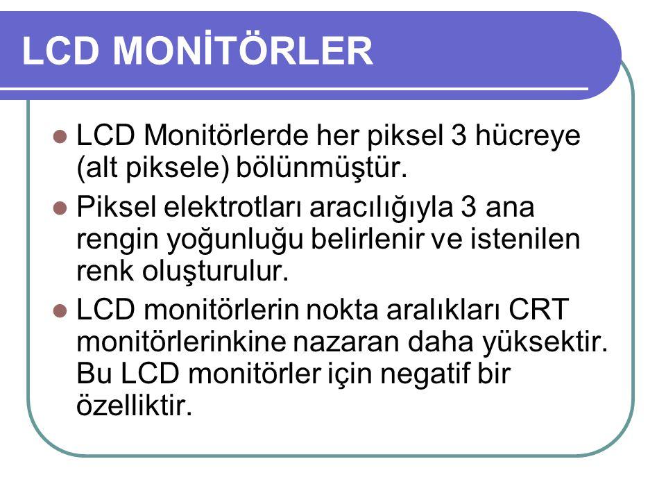 LCD MONİTÖRLER LCD Monitörlerde her piksel 3 hücreye (alt piksele) bölünmüştür.