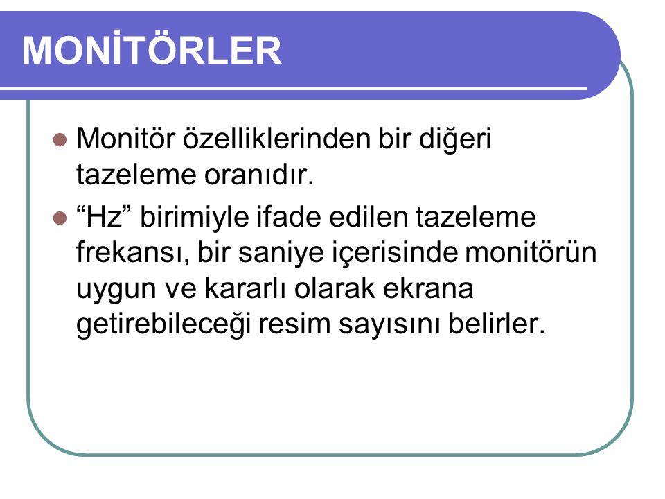 MONİTÖRLER Monitör özelliklerinden bir diğeri tazeleme oranıdır.