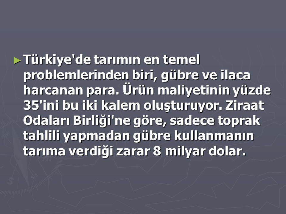 Türkiye de tarımın en temel problemlerinden biri, gübre ve ilaca harcanan para.