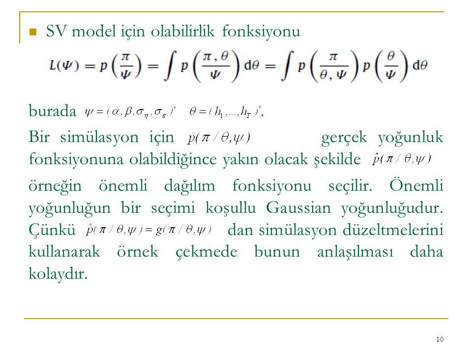 SV model için olabilirlik fonksiyonu