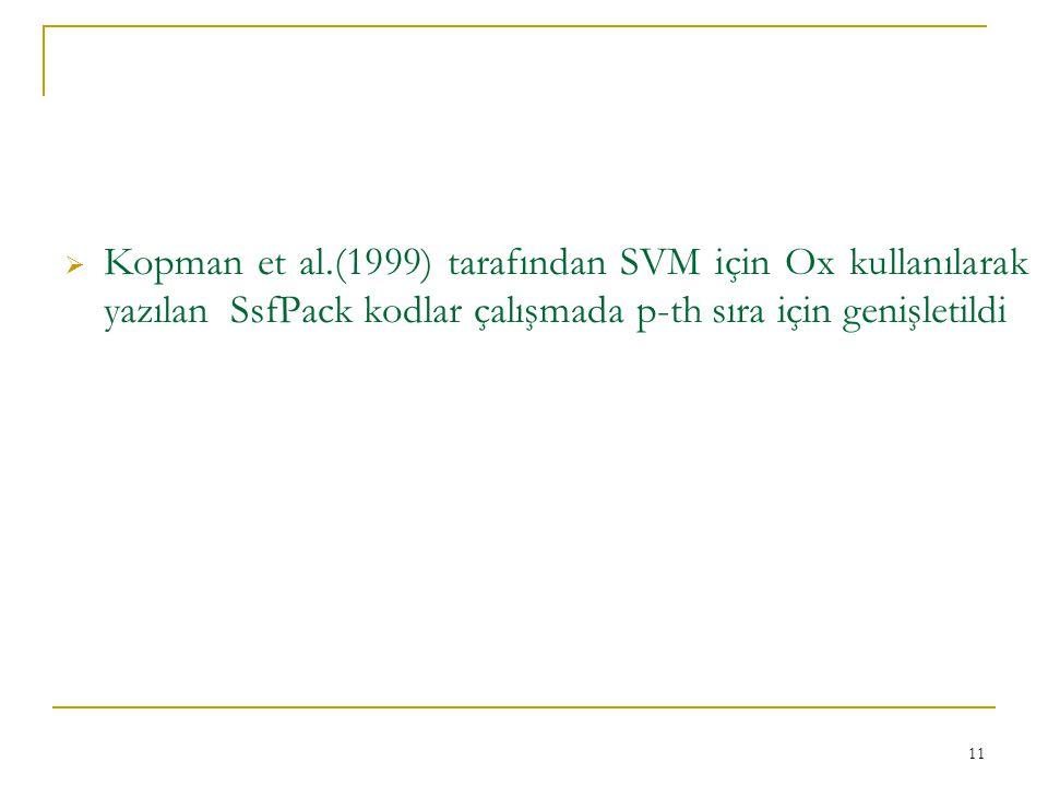Kopman et al.(1999) tarafından SVM için Ox kullanılarak yazılan SsfPack kodlar çalışmada p-th sıra için genişletildi