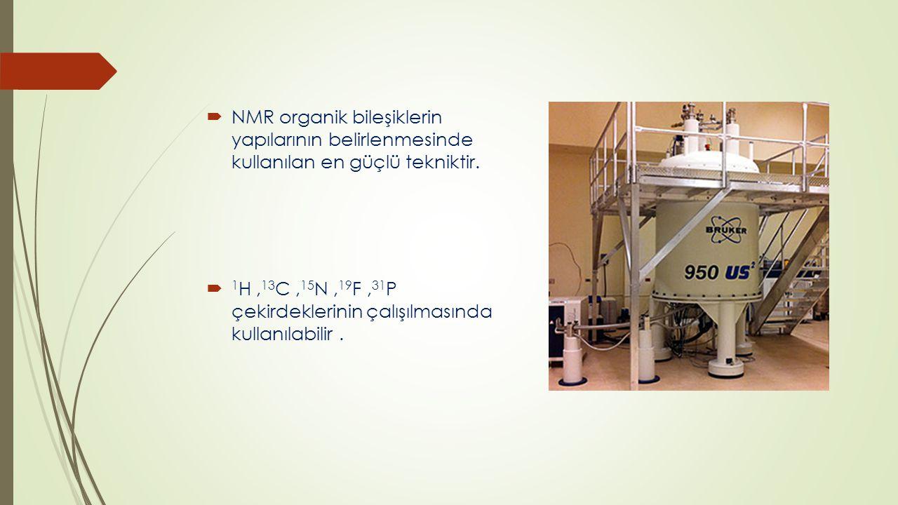 NMR organik bileşiklerin yapılarının belirlenmesinde kullanılan en güçlü tekniktir.