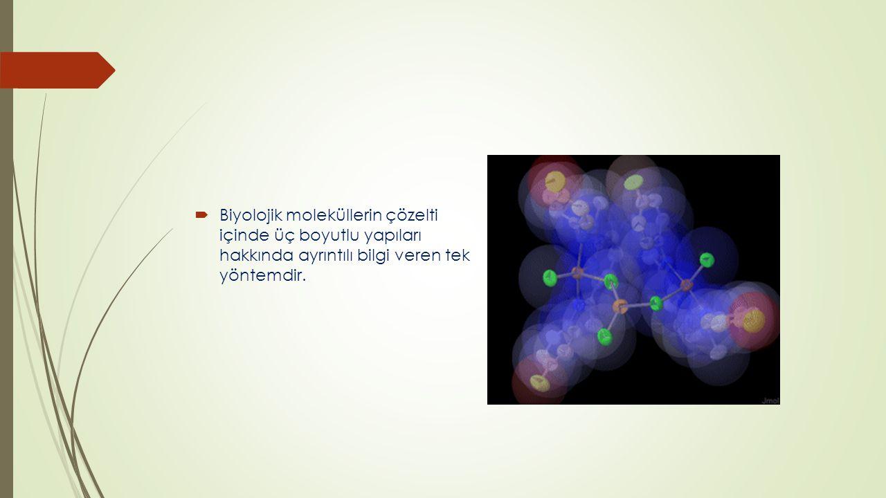 Biyolojik moleküllerin çözelti içinde üç boyutlu yapıları hakkında ayrıntılı bilgi veren tek yöntemdir.