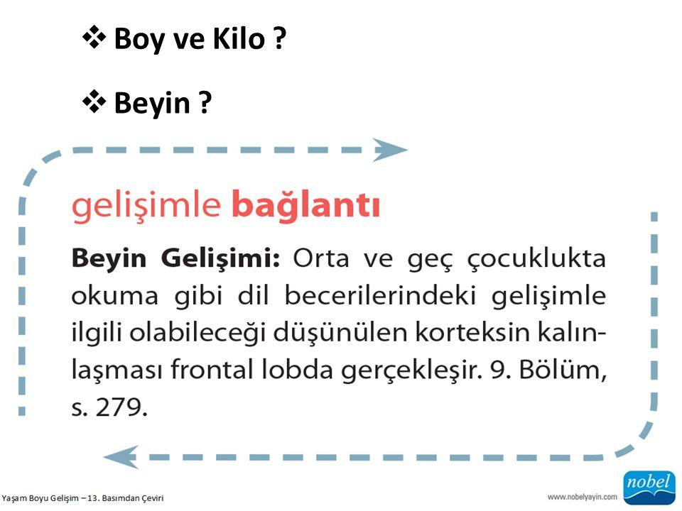 Boy ve Kilo Beyin