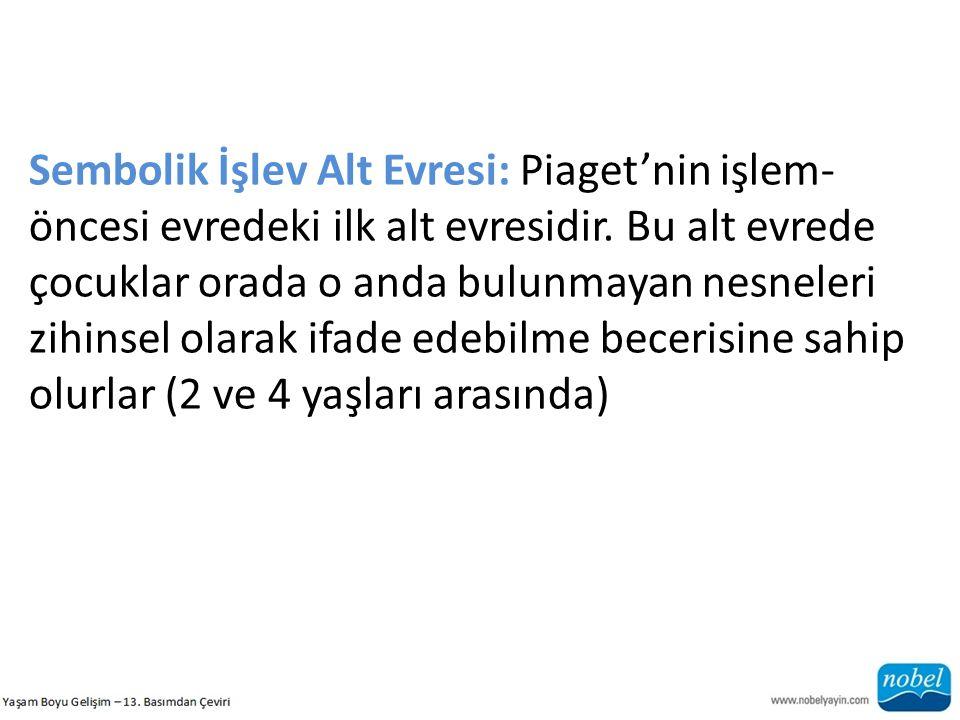Sembolik İşlev Alt Evresi: Piaget'nin işlem-öncesi evredeki ilk alt evresidir.