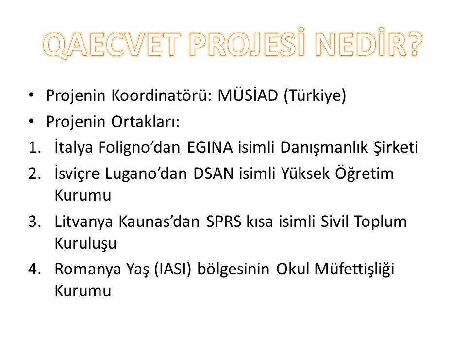 QAECVET PROJESİ NEDİR Projenin Koordinatörü: MÜSİAD (Türkiye)