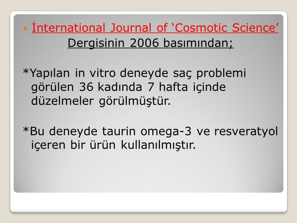 İnternational Journal of 'Cosmotic Science'