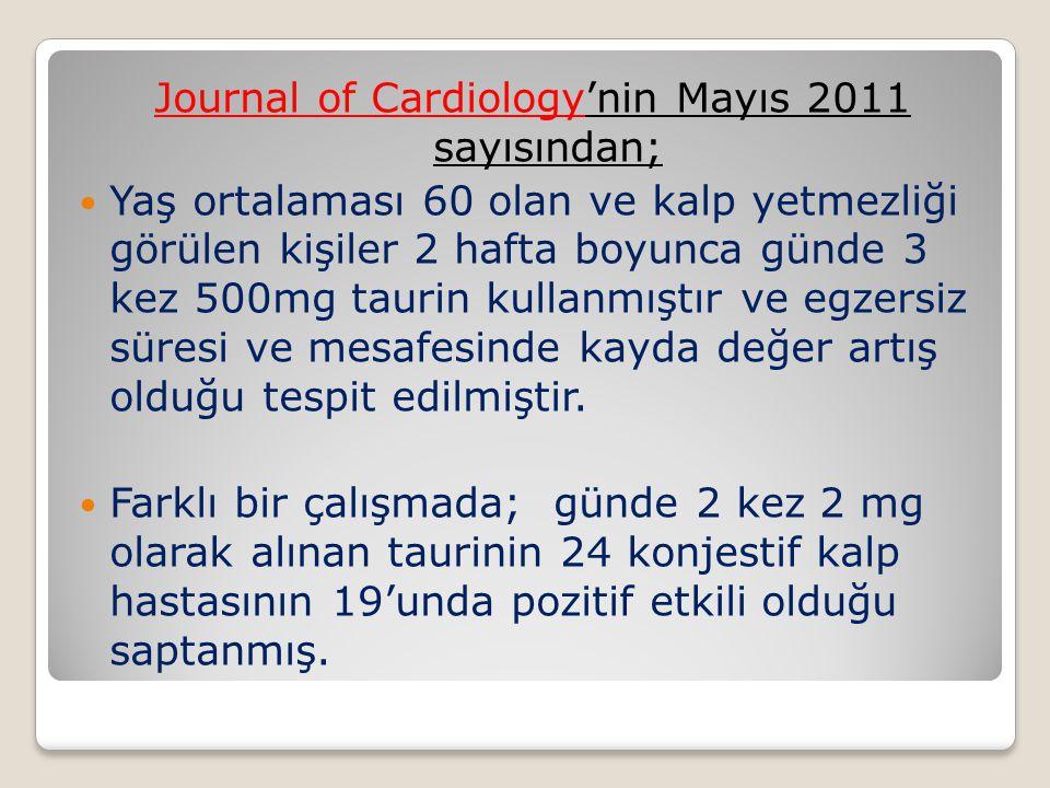Journal of Cardiology'nin Mayıs 2011 sayısından;