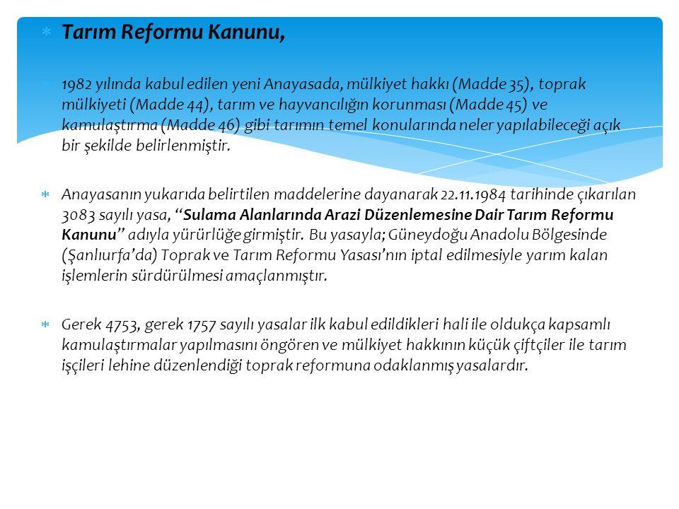 Tarım Reformu Kanunu,