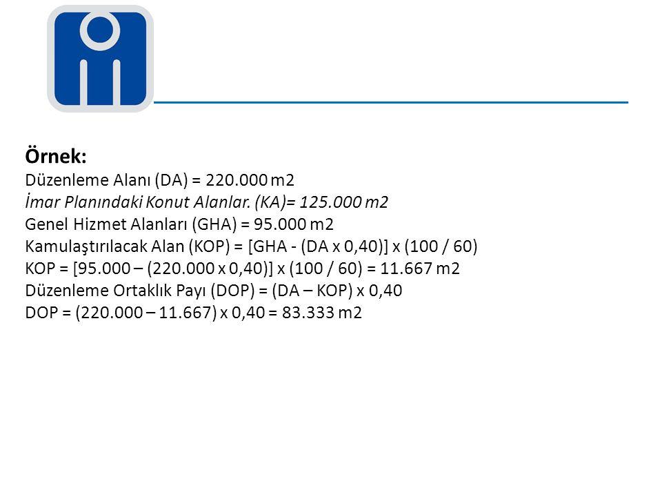Örnek: Düzenleme Alanı (DA) = 220.000 m2