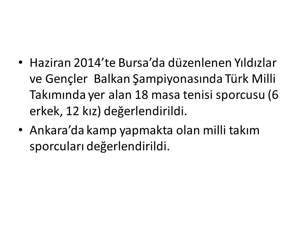 Haziran 2014'te Bursa'da düzenlenen Yıldızlar ve Gençler Balkan Şampiyonasında Türk Milli Takımında yer alan 18 masa tenisi sporcusu (6 erkek, 12 kız) değerlendirildi.