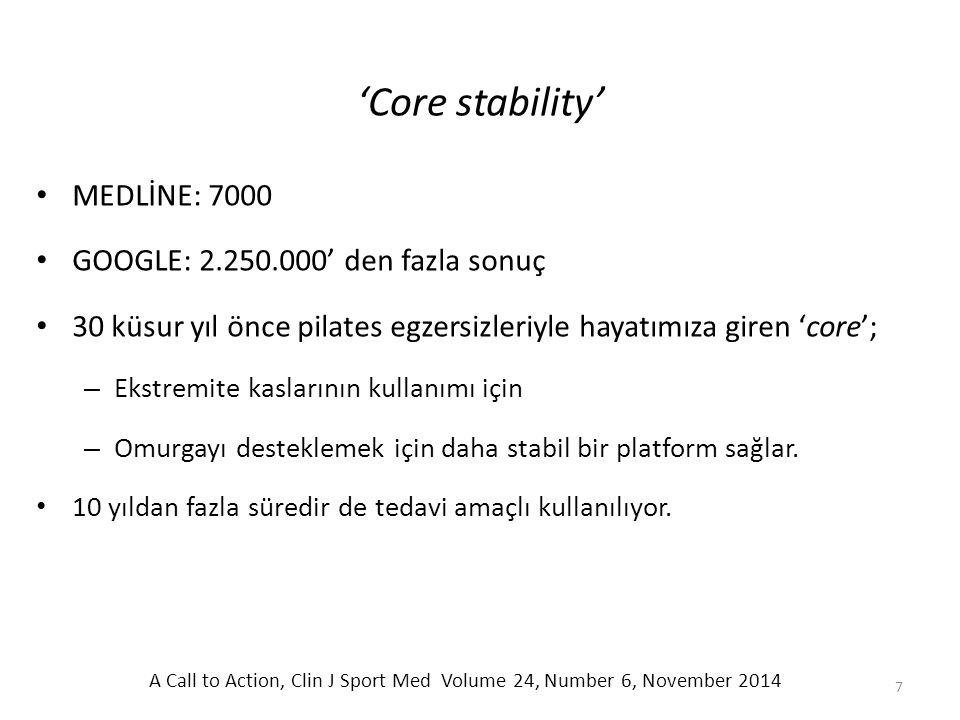 'Core stability' MEDLİNE: 7000 GOOGLE: 2.250.000' den fazla sonuç